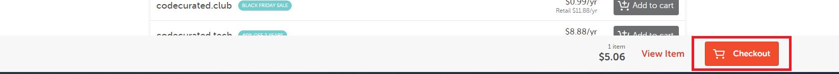 Checkout domain on Namecheap