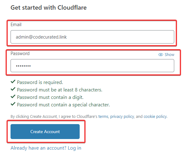 Register Cloudflare account for self-hosted Ghost